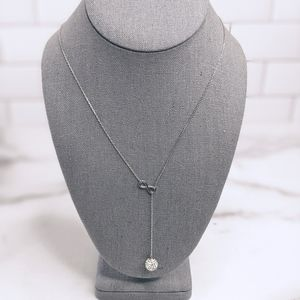 Sterling silver & crystal drop infinity necklace